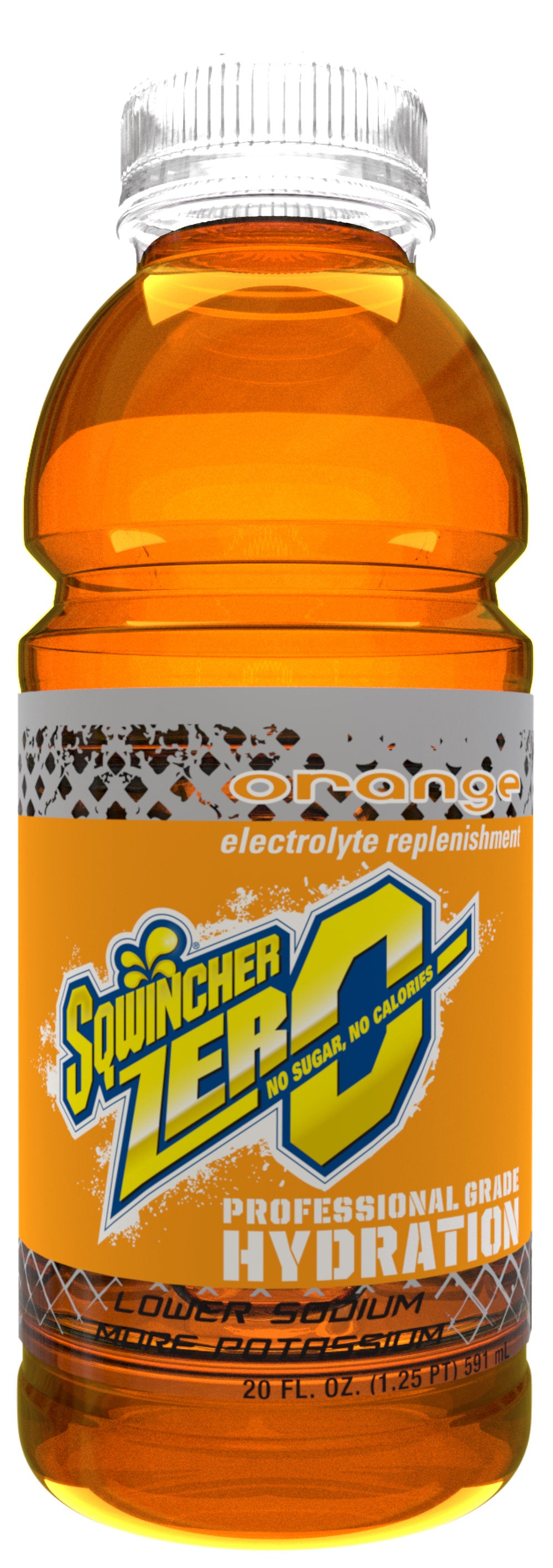Sqwincher Ready-to-Drink 20 fl oz. Bottles Orange Zero Case of 24