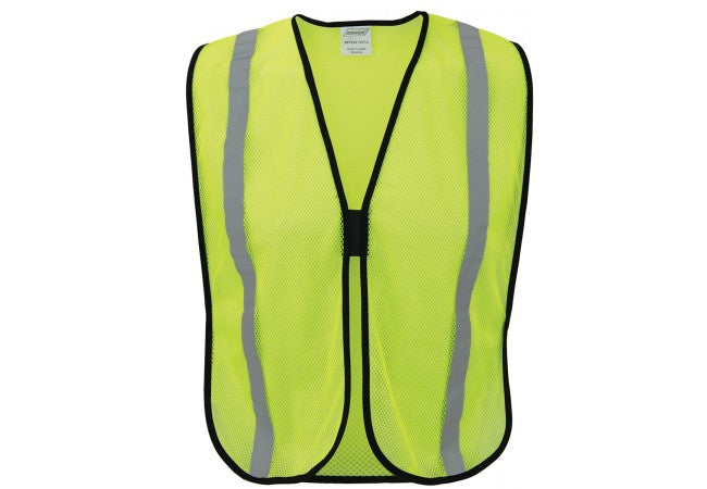 "1217-L Lime/Yellow Economy 1"" Silver Tape Polyester Mesh Vest"