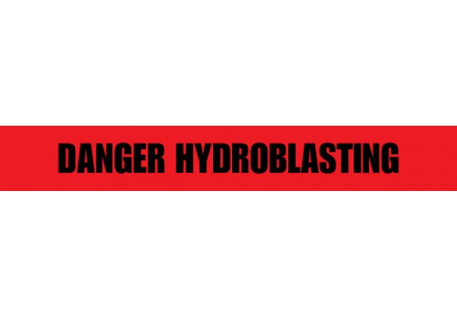 1101-03 DANGER HYDROBLASTING Barricade 2.5mil Red Tape 1,000ft Roll