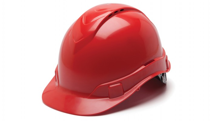 Vented Cap-Style 4-Pt Ratchet Suspension Hard Hat - Red