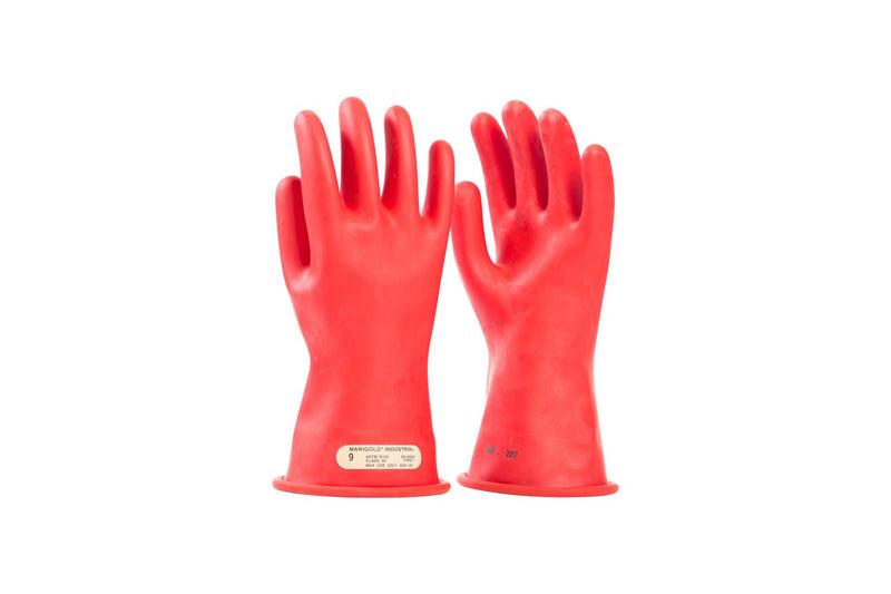 "OEL Class 00 (500 Volts) 11"" Red Rubber Insulating Gloves"