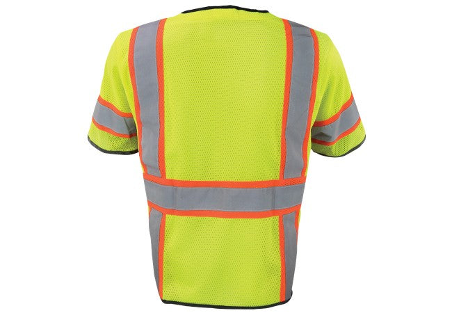1296-LZ-RD Mesh Class 3 Lime Reflective Short Sleeve Safety Vest