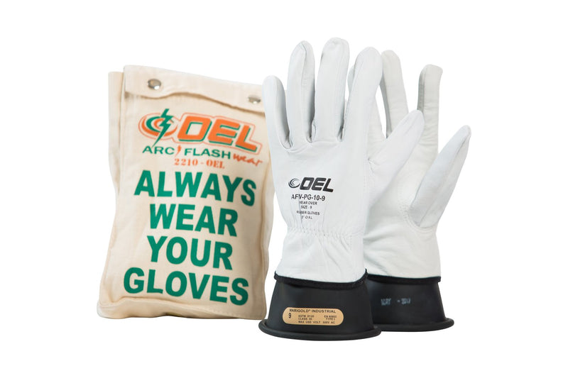 "OEL Class 00 (500 Volts) 11"" Black Rubber Insulating Glove Kit"