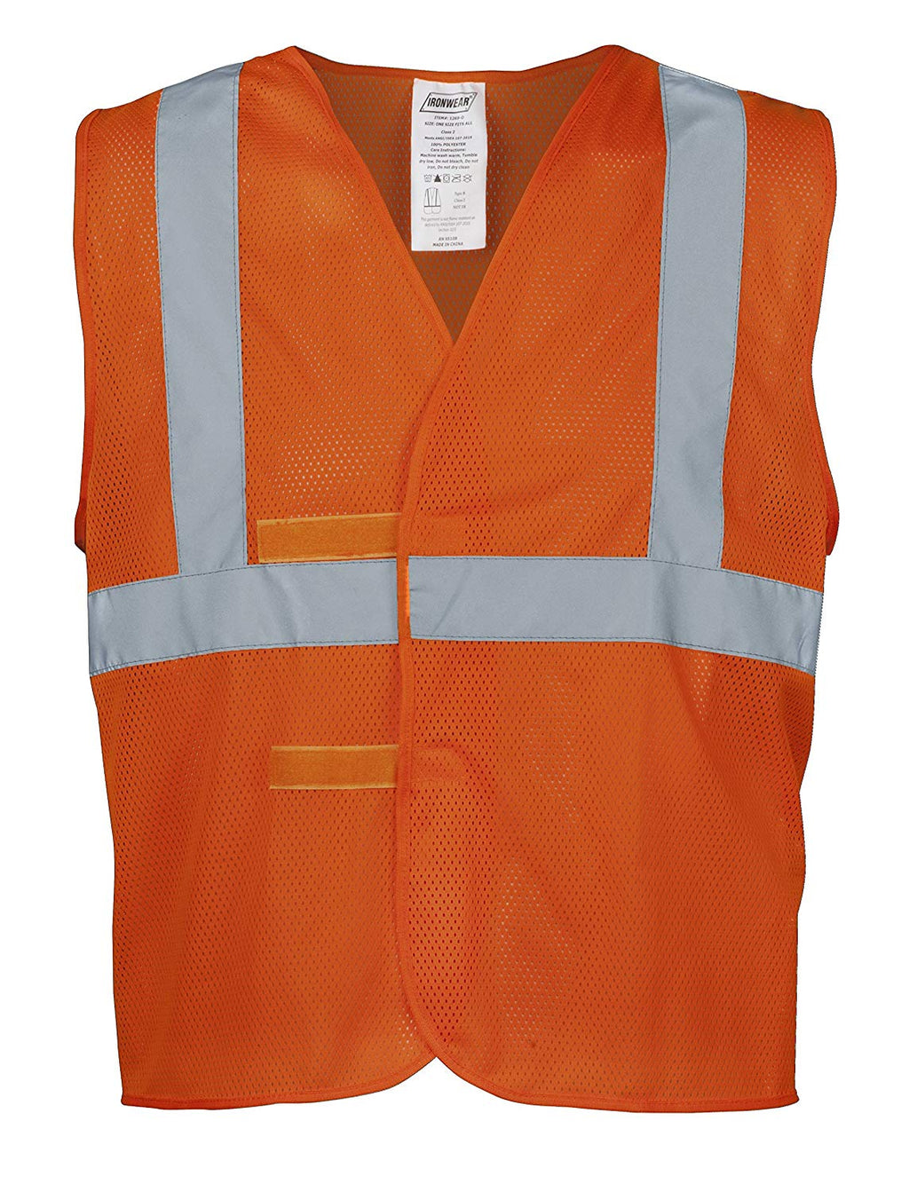 "1269-O ANSI Orange Class 2 Poly Mesh SAFETY Vest with 2"" Silver Reflective Tape"