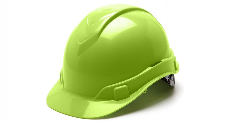 Ridgeline Cap-Style 6-Pt Ratchet Suspension Hard Hat - Hi-Vis Green