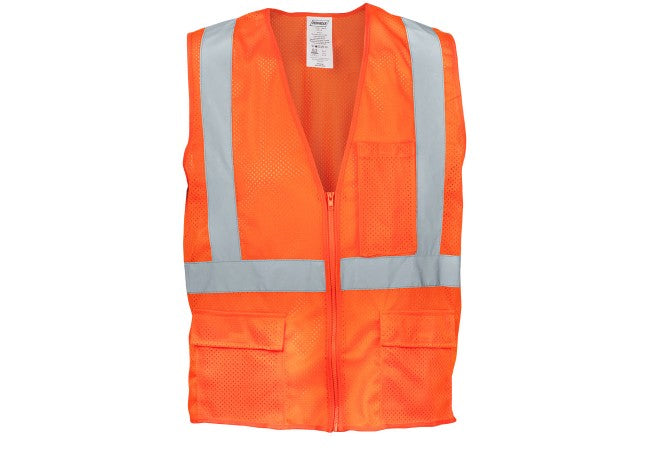 1284FR-O Flame Resistant Orange Mesh Reflective Tape Class 2 Vest