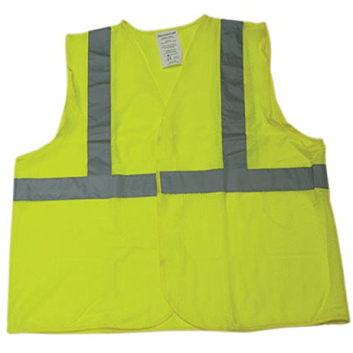"1269-L ANSI Lime Class 2 Poly Mesh SAFETY Vest with 2"" Silver Reflective Tape"