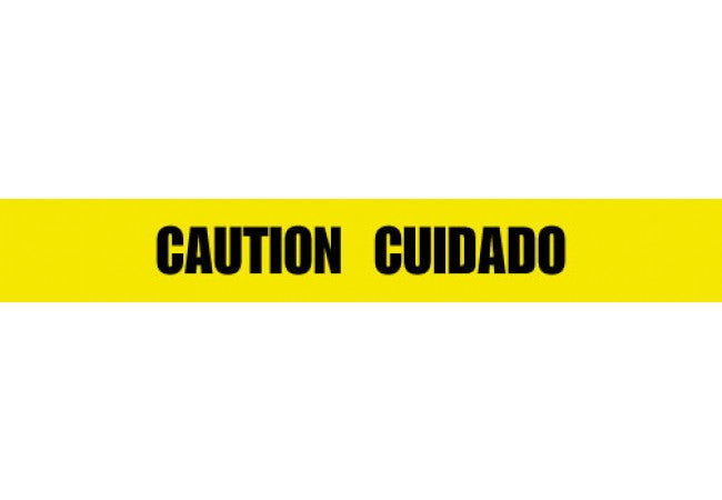 1100-04 CAUTION CUIDADO Yellow 2.5 mil Tape 1000ft Roll