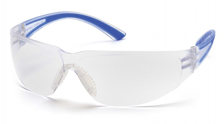 Clear Lenses with Navy Temples