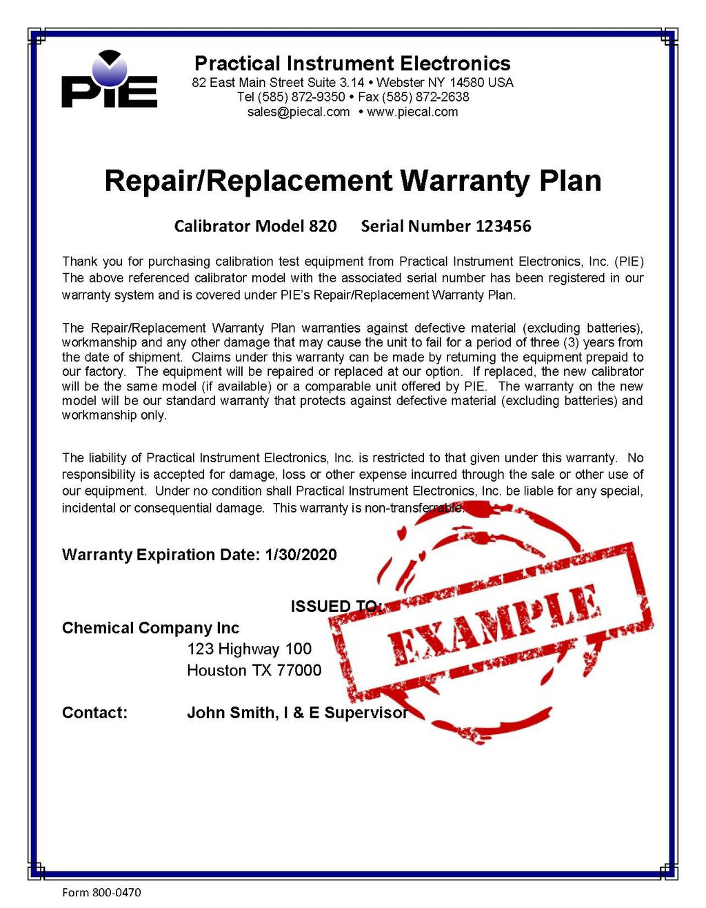 PIE 3-Year Repair/Replacement Warranty -B