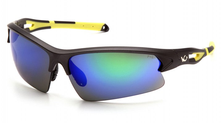 Ice Blue Mirror Anti-Fog Lenses with Hi-Vis Yellow Frame