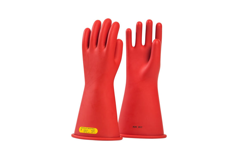 "OEL Class 2 (17,000 Volts) 14"" Red Rubber Insulating Gloves"