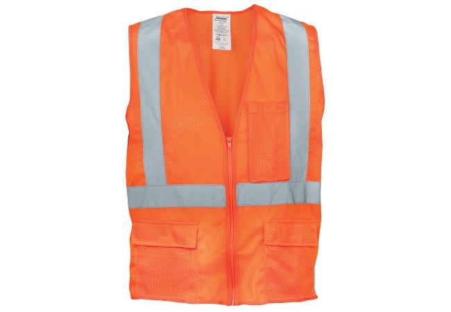 1284FR-OZ Flame Resistant Orange Mesh Reflective Tape Class 2 Vest