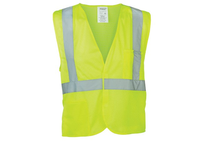 "1247 Lime Mesh Class 2 Vest with 2"" Reflective Striping and Pockets"