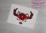 Floral reindeer antlers Rudolph applique embroidery machine design file 3 sizes included