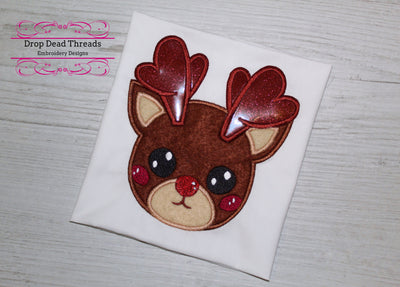 Cute baby Rudolph applique embroidery design 5 sizes