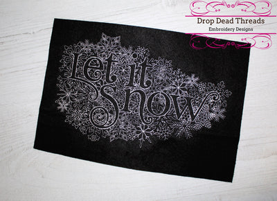 Let it snow winter christmas word art embroidery machine design file 3 sizes included