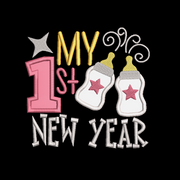 my first new year embroidery machine design files applique 2 sizes included xmas baby onesie vest t shirt bib towel etc