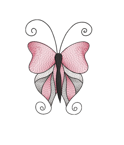 Whimsical Butterfly sketch 4 sizes