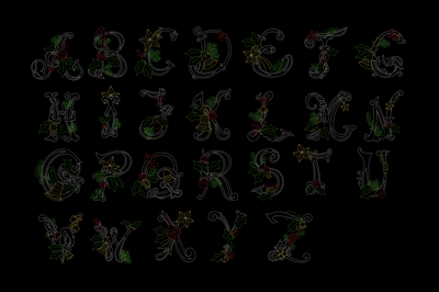 Christmas monogram alphabet set quick stitch 6 sizes