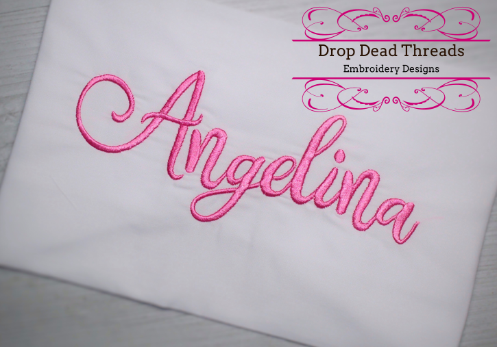 Angelina Script machine embroidery font design file three sizes includes BX