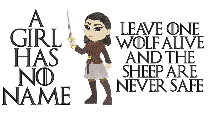 Arya Stark filled reading cushion two text versions game of thrones inspired
