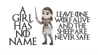 Arya Stark sketch reading cushion two text versions game of thrones inspired