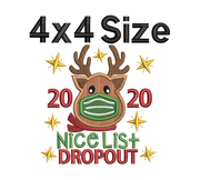 Christmas humour lettering  - masked christmas - 2020 nice list dropout applique
