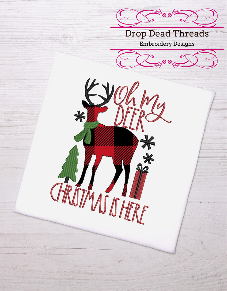 farmhouse christmas - oh my deer christmas is here raw edge applique