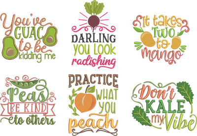funny fruit & vegetables puns 6 part full collection one design free