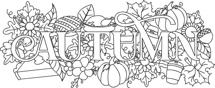 Autumn word art embroidery machine design file 2 sizes included seasons