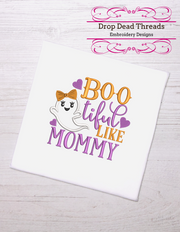 Kids - baby halloween - Boo-tiful like Mommy 3 sizes with applique