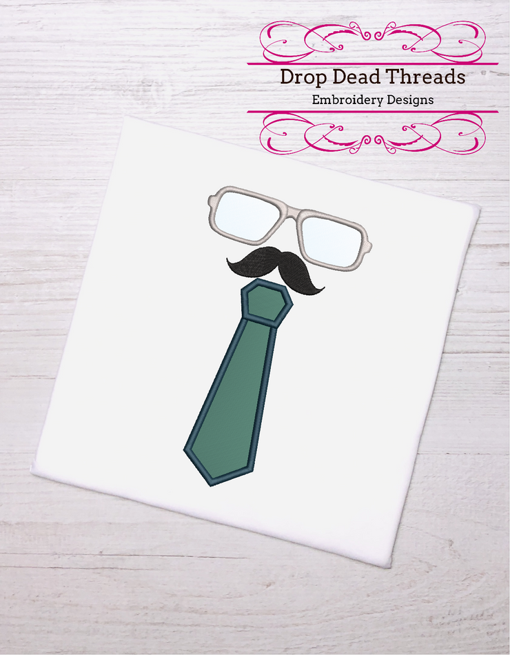 Dad fathers day glasses & tie applique 3 sizes