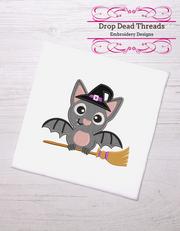 Kids - baby halloween - cute bat on a broom applique 3 sizes