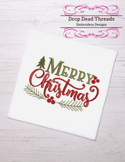 Rustic merry Christmas winter christmas embroidery machine design file 3 sizes included