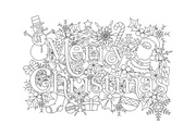 Merry Christmas winter christmas word art embroidery machine design file 2 sizes included