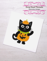 Kids - baby halloween - cute pumpkin cat applique 4 sizes