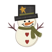 Rustic snowman applique christmas winter christmas embroidery machine design file 3 sizes included