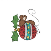 Sketchy christmas mouse bauble winter christmas embroidery machine design file 3 sizes included