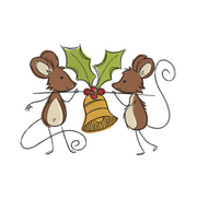 Sketchy christmas mice bell winter christmas embroidery machine design file 3 sizes included