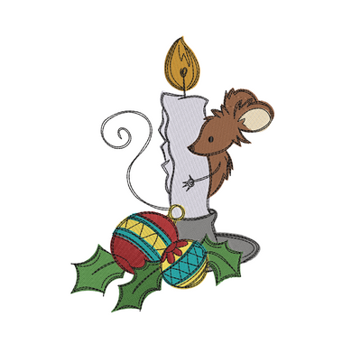 Sketchy christmas mouse candle winter christmas embroidery machine design file 3 sizes included