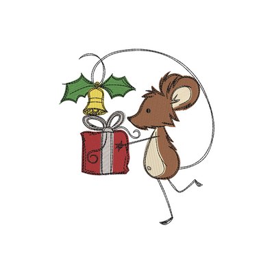 Sketchy christmas mouse gift winter christmas embroidery machine design file 3 sizes included