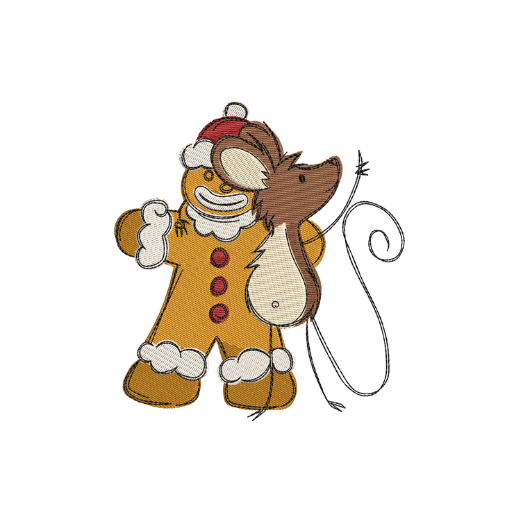 Sketchy christmas mouse gingerbread winter christmas embroidery machine design file 3 sizes included