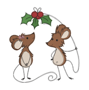 Sketchy christmas mice holly winter christmas embroidery machine design file 3 sizes included