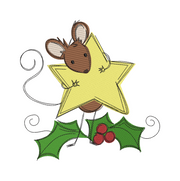 Sketchy christmas mouse star winter christmas embroidery machine design file 3 sizes included