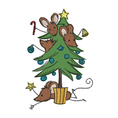 Sketchy christmas mice tree winter christmas embroidery machine design file 3 sizes included