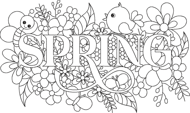 spring word art embroidery machine design file 2 sizes included seasons