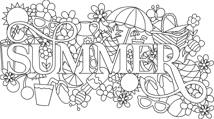 summer word art embroidery machine design file 2 sizes included seasons