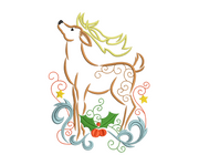 Sketchy swirly reindeer 1 winter christmas embroidery machine design file 3 sizes included