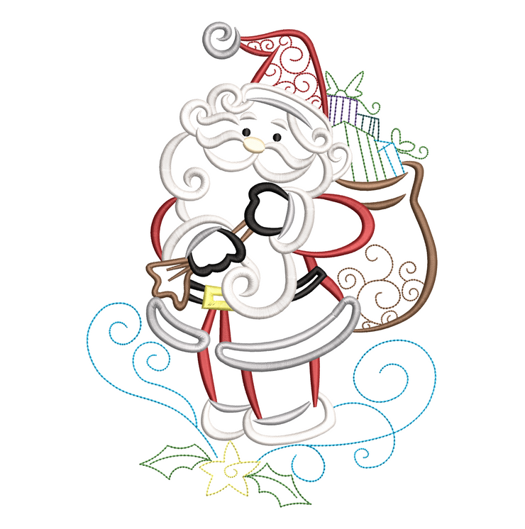 Sketchy swirly santa 1 winter christmas embroidery machine design file 3 sizes included